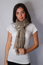 Load image into Gallery viewer, Khaki Feather Print Scarf