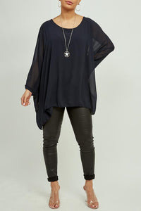 Navy Batwing Necklace Top