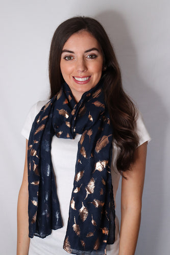 Navy and Rose Gold Shiny Feather Scarf