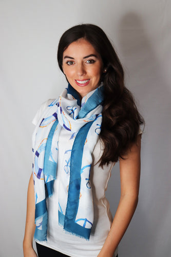 Seaside Anchor Print Frayed Scarf