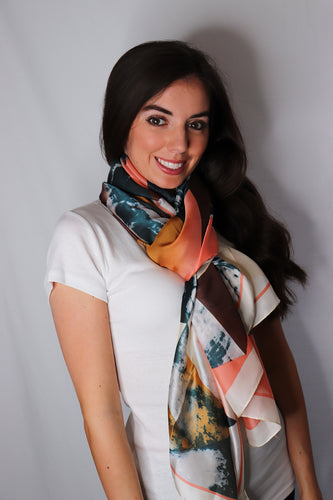 Cream Marble Effect Triangle Print Silk Scarf