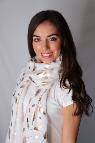 White and Rose Gold Shiny Feather Scarf