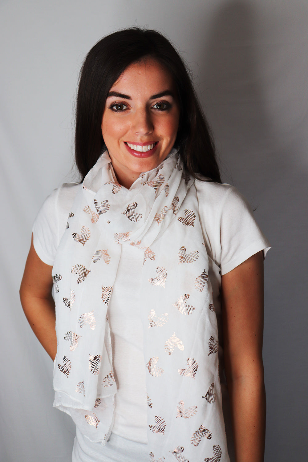 White and Rose Gold Heart Design Scarf