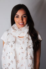 Load image into Gallery viewer, White and Rose Gold Heart Design Scarf