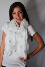 Load image into Gallery viewer, White Silver Tree Print Scarf