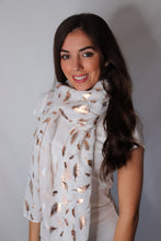 Load image into Gallery viewer, White and Rose Gold Shiny Feather Scarf