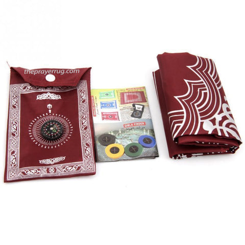 Muslim Islamic Prayer Rug Mat with QIbla Finder & City Guide