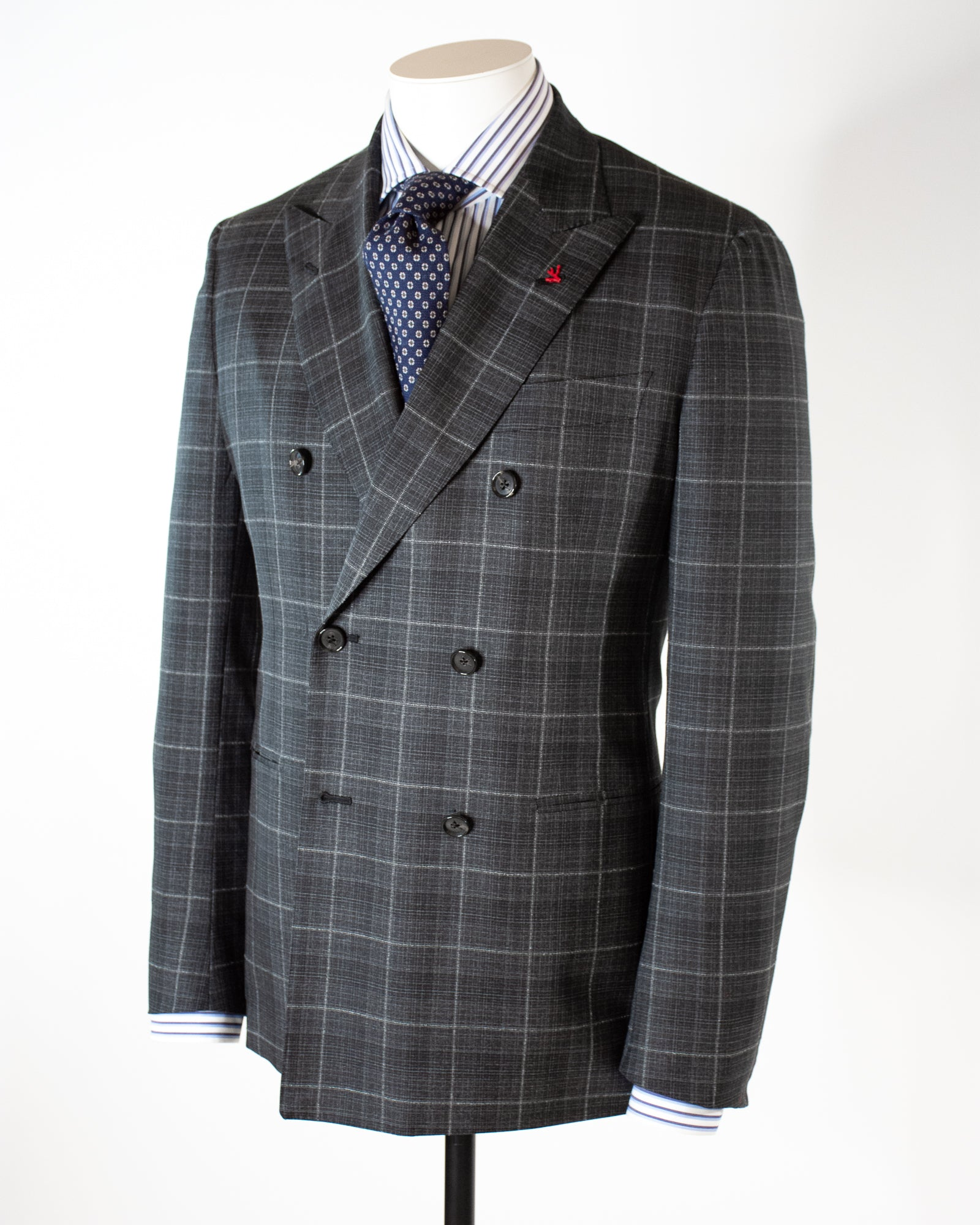ISAIA Double Breasted Check Suit