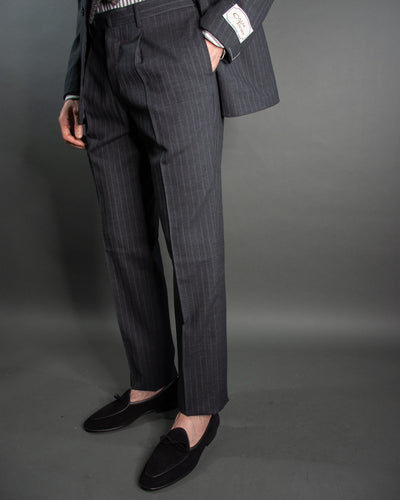 RING JACKET Charcoal Chalk Stripe Suit