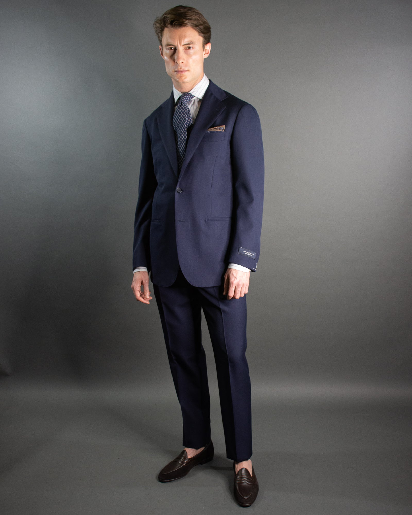 RING JACKET Solid Navy Suit