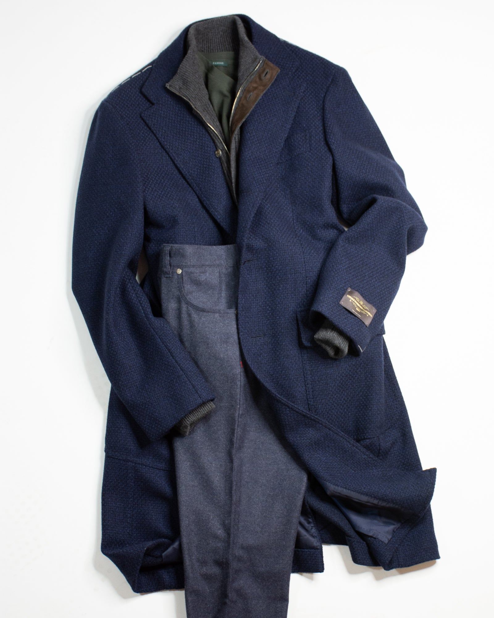 RINGJACKET Single Breasted Patch Pocket Overcoat
