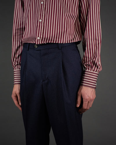 BRUNELLO CUCINELLI Burgundy Striped Shirt