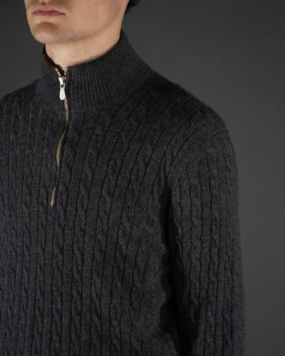 BRUNELLO CUCINELLI Half Zip Cashmere Cable Knit