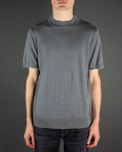 BRUNELLO CUCINELLI Short Sleeve Mock Neck Knit Tee