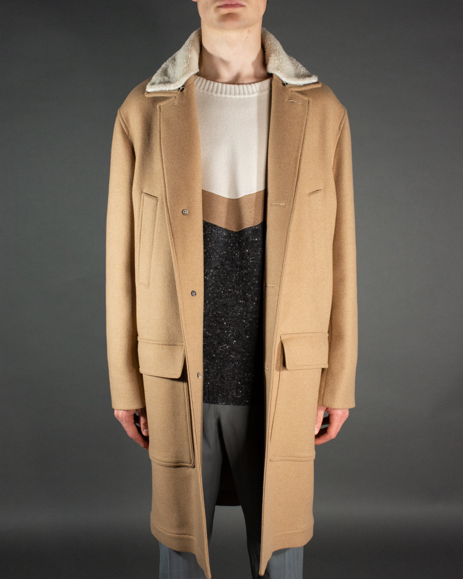 BRUNELLO CUCINELLI Camel Teddy Coat
