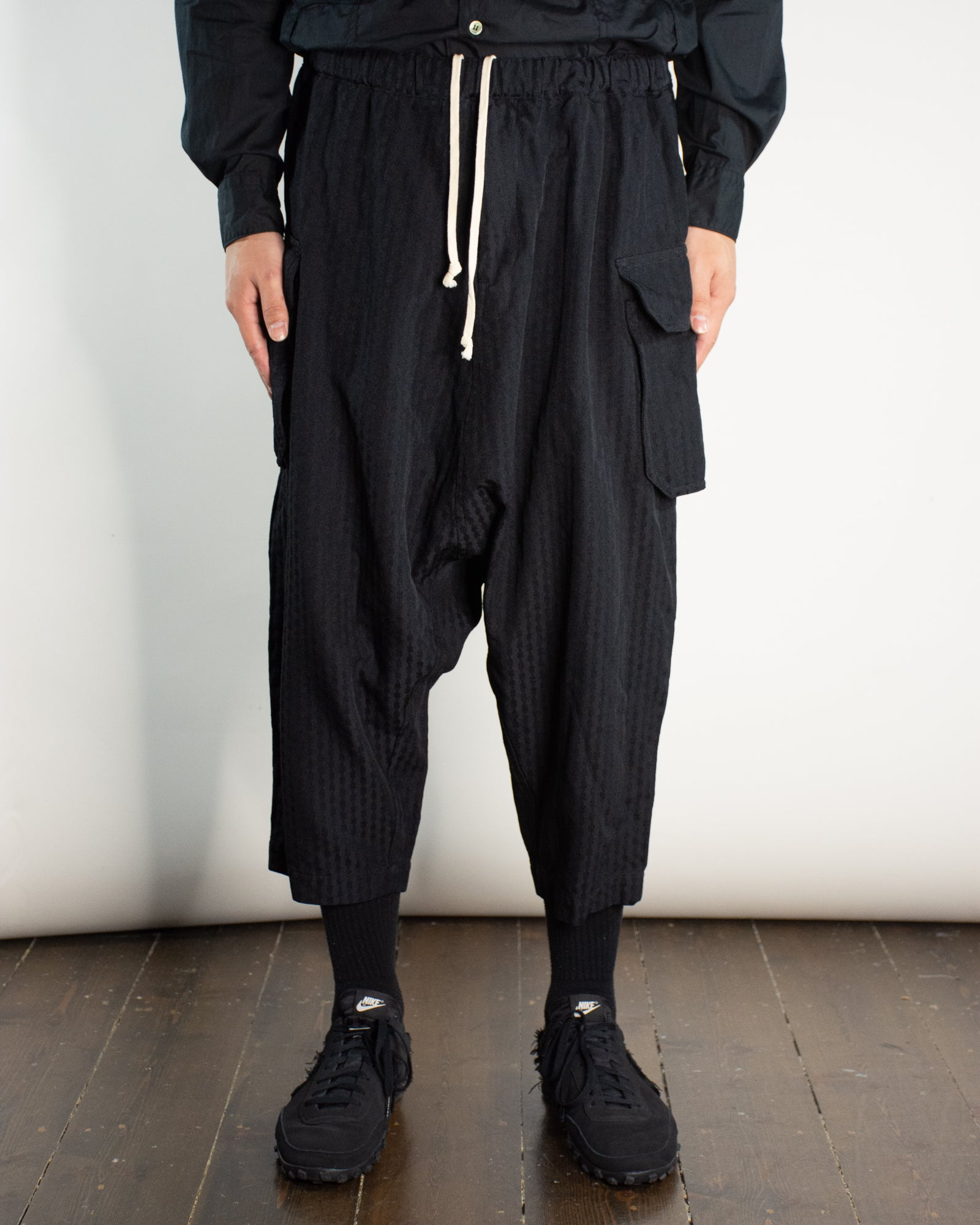 CDG BLACK Drop Crotch Cargo Trousers