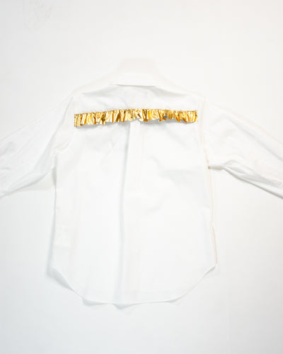 CDG BLACK Shirt with Gold Ruffle Trim
