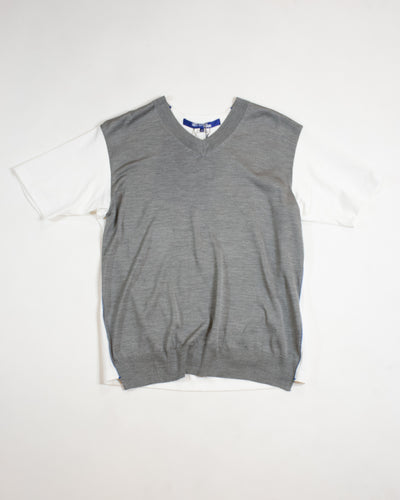 JUNYA WATANABE V Neck Silk Cotton Knit Tee