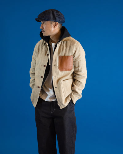 JUNYA WATANABE Linen Shirt Jacket with Leather Patch