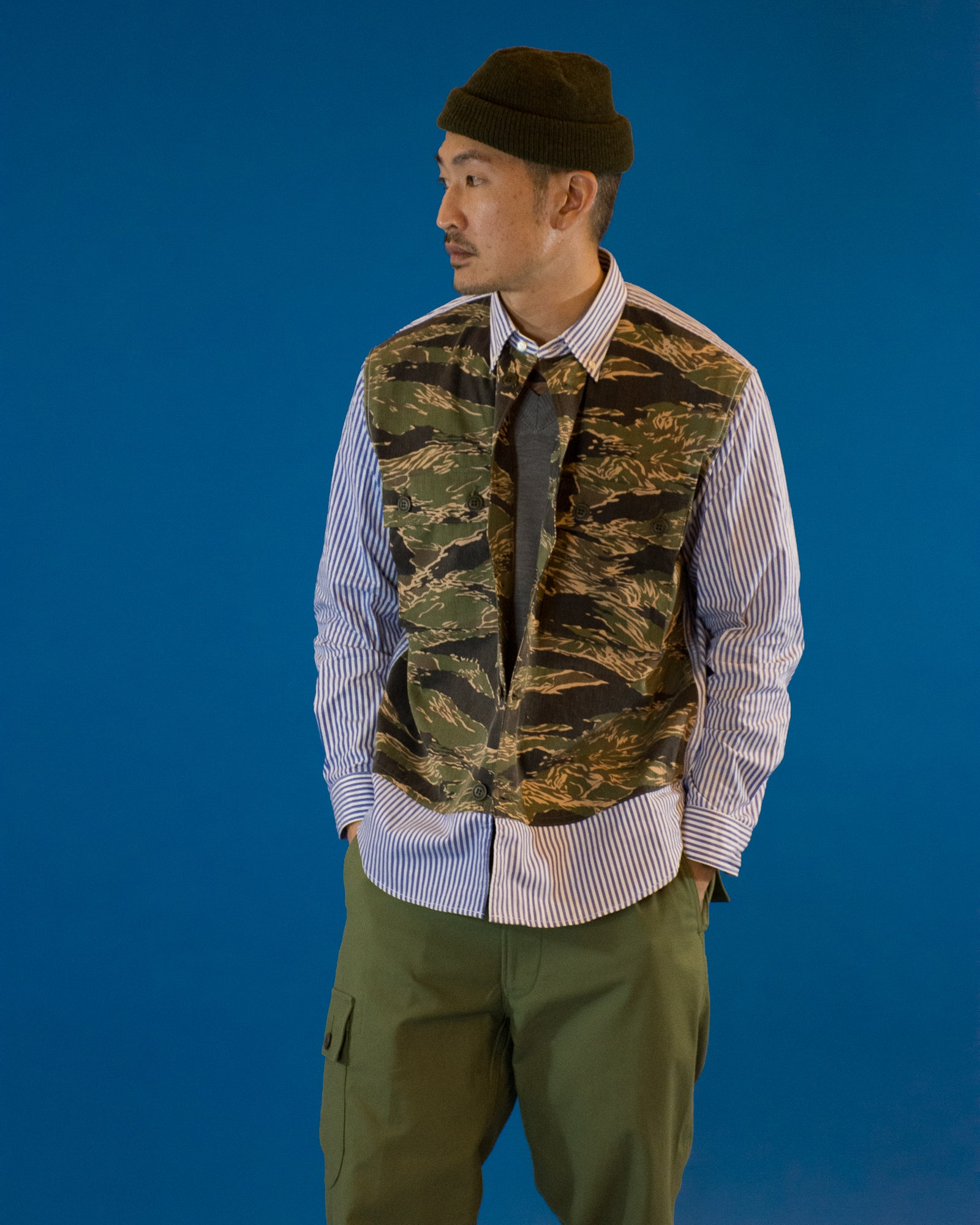 JUNYA WATANABE Double Pocket Stripe Camo Shirt