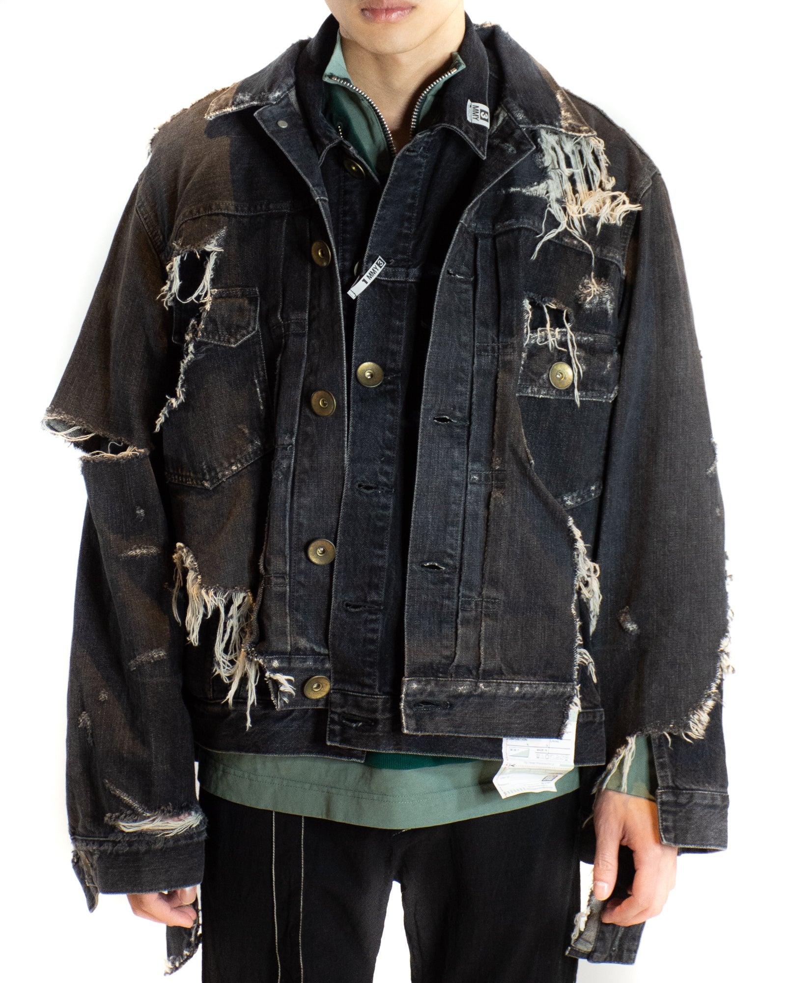 MIHARA YASUHIRO LAYERED DISTRESSED DENIM JACKET