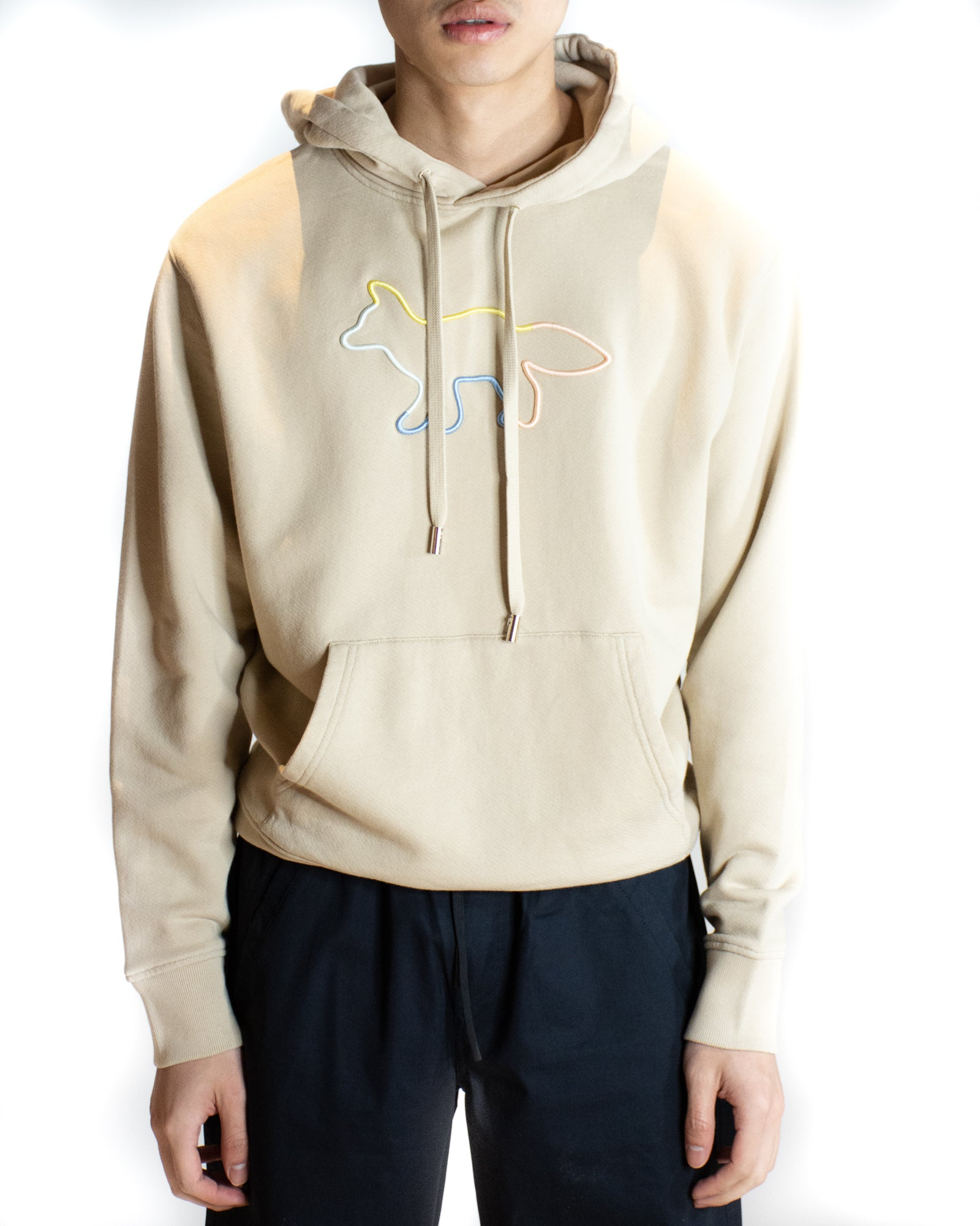 MAISON KITSUNÉ RAINBOW FOX EMBROIDERED HOODIE