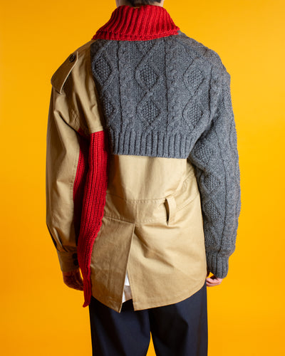 KOLOR Patchwork Knit Short Trench