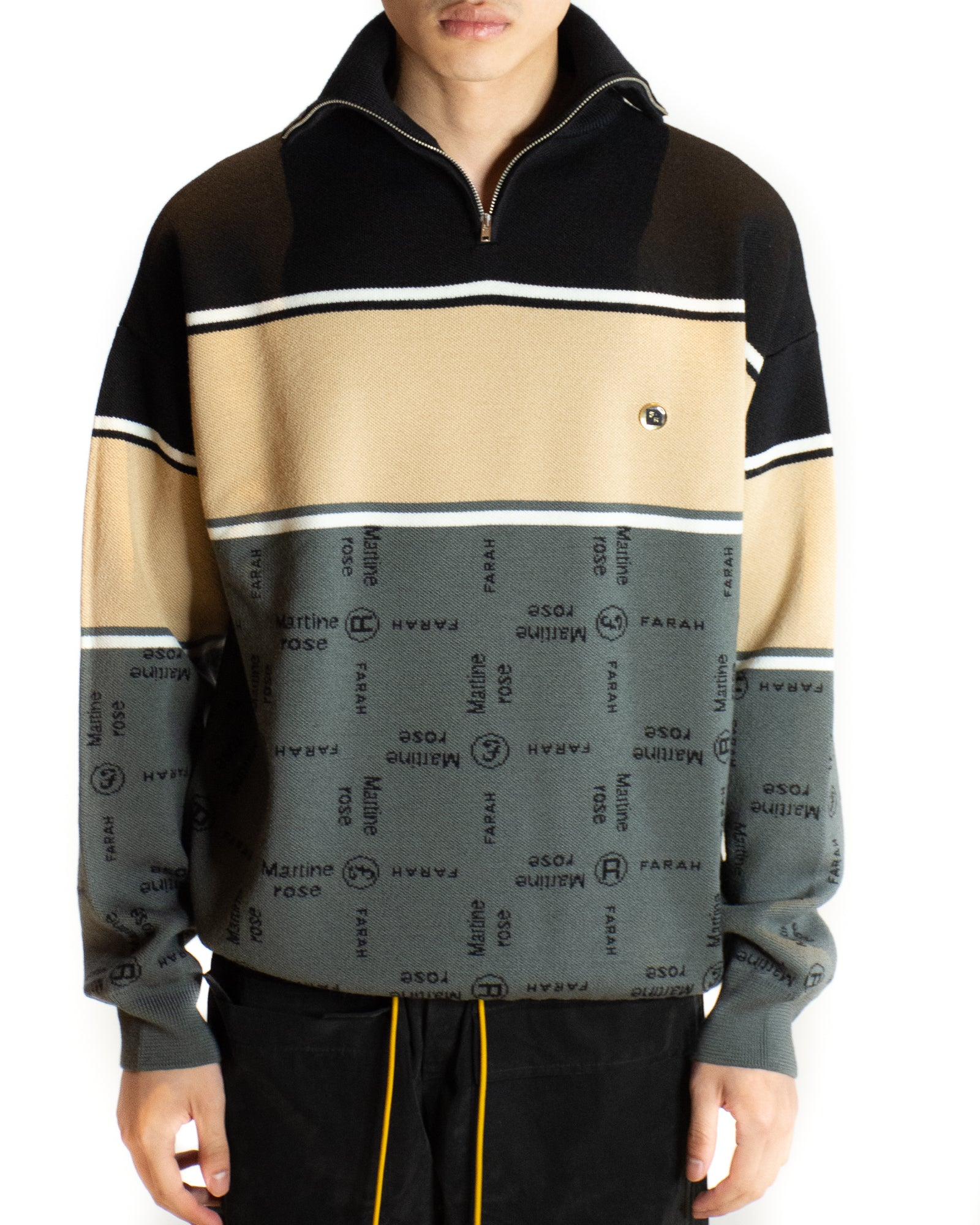 MARTINE ROSE x FARAH CUBIC KNIT ZIP POLO