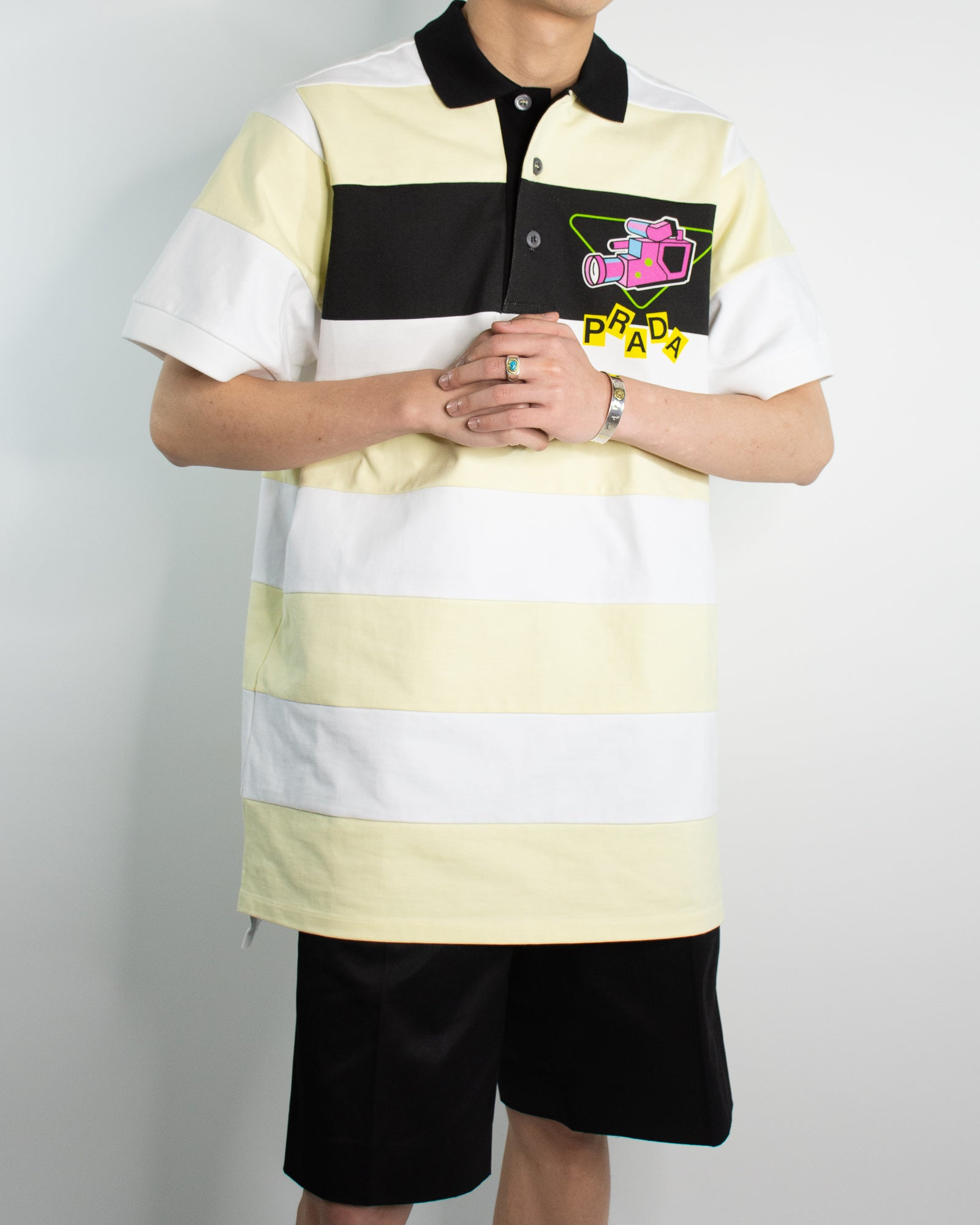 PRADA Oversized Striped Camera Polo