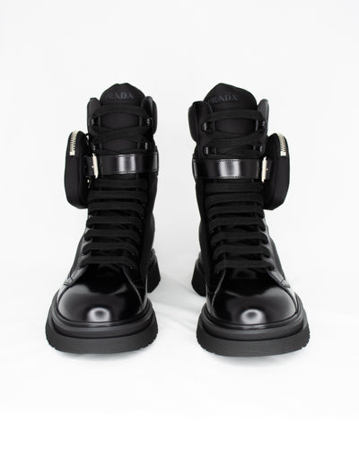 PRADA COMBAT BOOT WITH SIDE POUCH