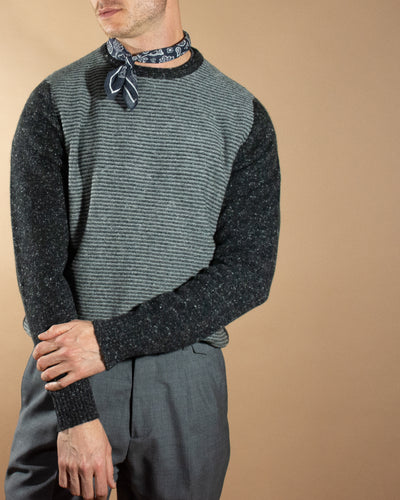 ISAIA Stripe and Speckle Cashmere Knit