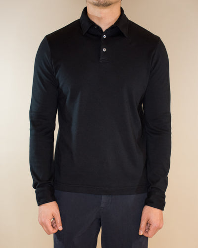 SLOWEAR Pima Cotton Long Sleeve Polo Shirt