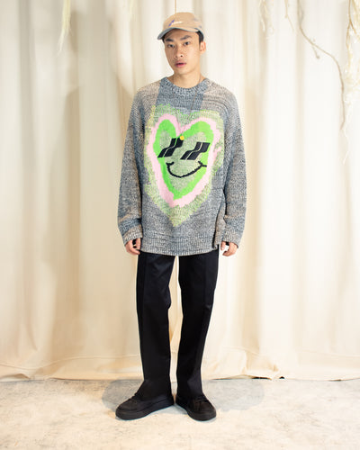 WE11DONE HEART GRAPHIC JACQUARD KNIT