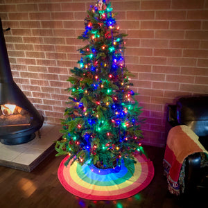 Rainbow Pride Christmas Tree Skirt