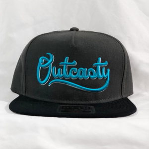 Outcasty Flat Bill Snapback 3D Puff (Blue Embroidery)