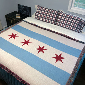 Chicago Flag Woven Cotton Blanket