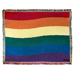 Rainbow Pride Woven Cotton Blanket