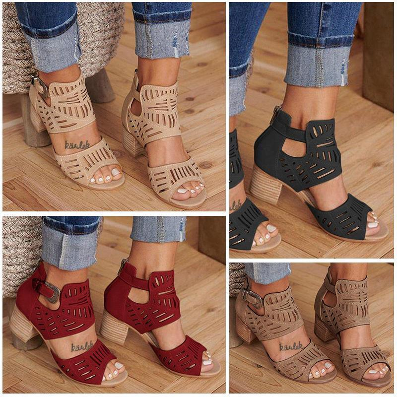Buckle Hollow Heeled Sandals