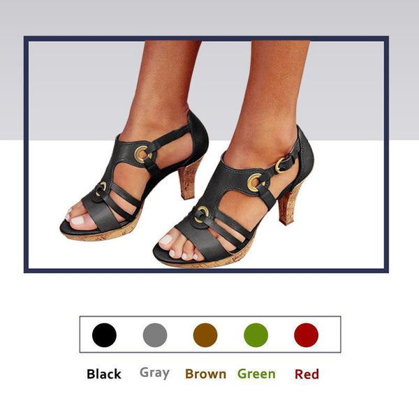 Fashionable Peep Toe Heeled Sandals