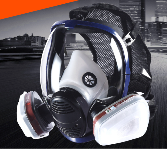 Respirator Full Seal Protection Double Air Filter Eye Protection Respiratory Protection (Without Canister) - jointstars.co