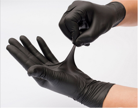 Disposable black nitrile glove with powder free