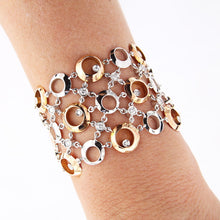 Load image into Gallery viewer, Pink and White Golden Wide Cuff Bracelet with 2.02 Carat Diamonds