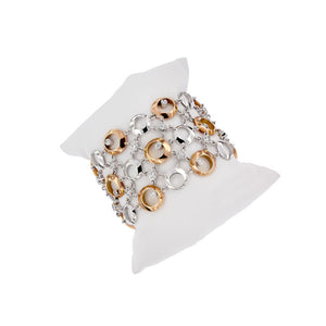 Pink and White Golden Wide Cuff Bracelet with 2.02 Carat Diamonds