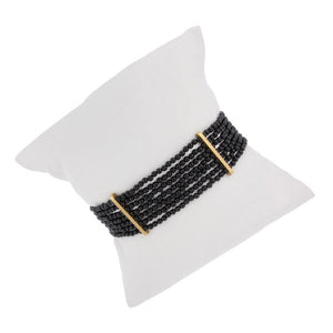 Onyx beaded Bracelet with yellow Gold