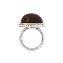Load image into Gallery viewer, White and Yellow Golden Ring set with Brown Moonstone and Diamonds