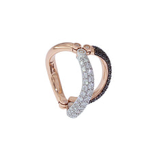 Load image into Gallery viewer, Pink and White Golden ring set with Black and White Diamonds