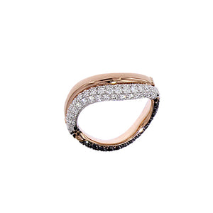 Pink and White Golden ring set with Black and White Diamonds