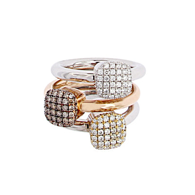 White, Pink and Yellow Golden Rings set with 56 Diamonds each, also available separately