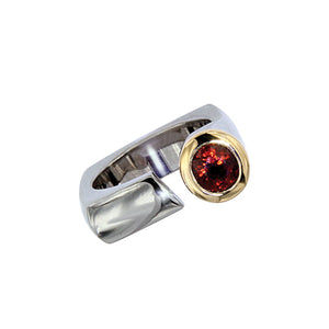 White and Yellow Golden Ring with Garnet