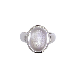 White Golden Ring set with a Ceylan Moonstone Engraved with Blazon